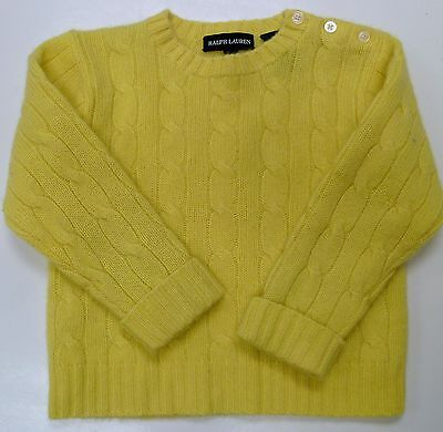 Ralph Lauren Cashmere Cable Knit Sweater Yellow Infant Toddler Baby L XL $195