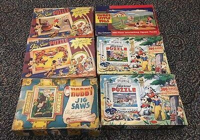 Lot Of 5 Vintage Disney Puzzles 1 Hobby Crest