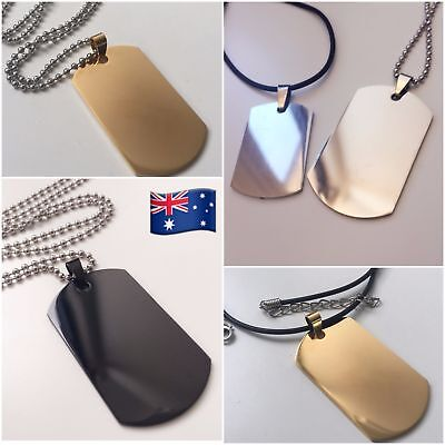 316L Stainless Steel Necklace Engravable Military Army Polished Dog Tag & Chain
