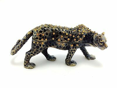 Cheetah Jaguar Leopard Jewelry Trinket Box Decorative Collectible Animal 02033B