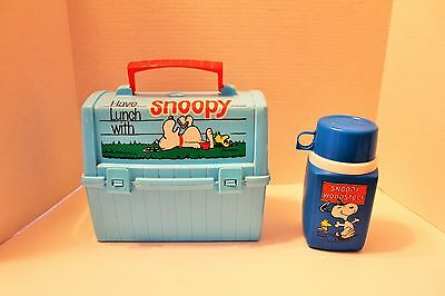 Vintage 1968 Peanuts Snoopy Plastic Lunch Box with Thermos