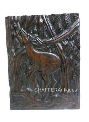 Vintage African Hand Carved Wooden Wall Panel of an Antelope
