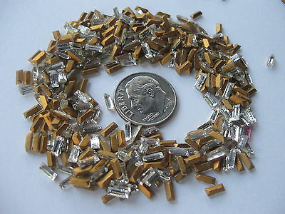 99 clear mixed BAGUETTE rhinestone lot GoldTONE pointed back BUY IT NOW   $17.87