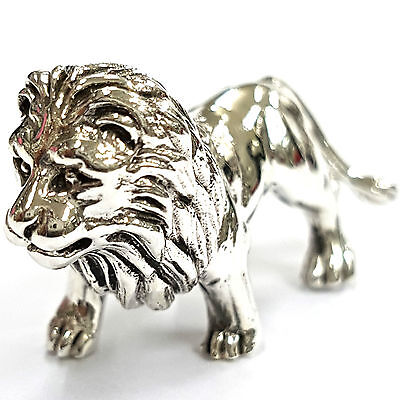 Collectable Victorian Style Standing Lion Figurine 925 Sterling Silver