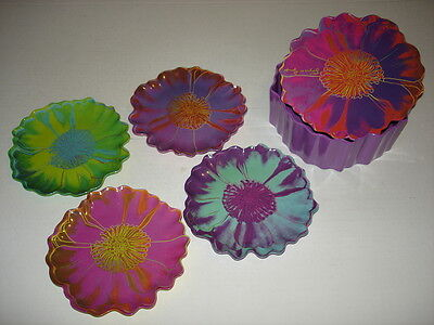 ANDY WARHOL Placidio Objects Melamine op art Tacoma Flower Plate SET of 4 & box