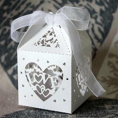 50pcs Love Heart Wedding Party Sweets Cake Chocolate Candy Gift Favour Boxes