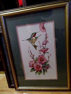 Home Interior By Carolyn Shores bright picture of Hummingbird with Pink flowers