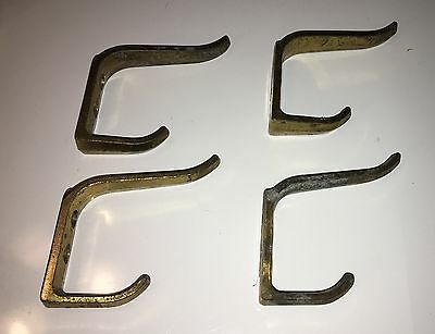 Lot Of 4 Antique Vintage Brass Double Coat Hat Hooks