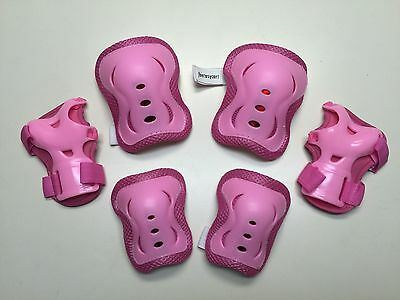 Kid's Roller Blading Wrist Elbow Knee Pads Blades Guard 6 PCS Set Pink