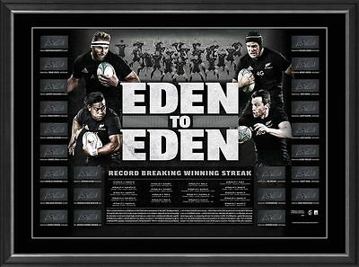 All Blacks EDEN TO EDEN World Record Breakers, team Signed, Framed Official COA