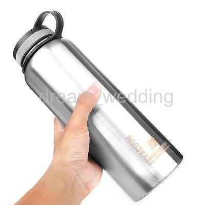 1L Outdoor Wide Mouth Water Bottle Stainless Steel Insulated Vacuum Sports