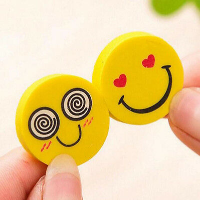 12 Pcs Cute Funny Emoji Rubber Pencil Eraser Students Stationery Toy Gift