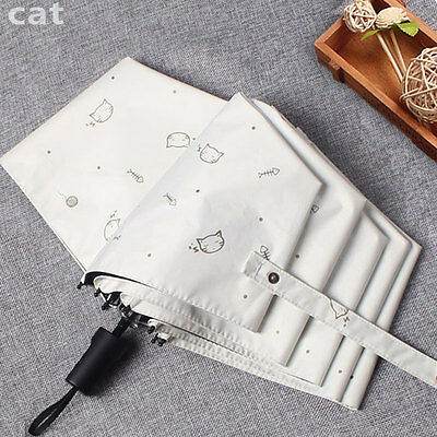 Cute Cat 3 Folding Anti UV Sun/Rain Women's Parasol Umbrellas