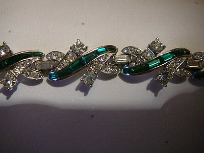 Boucher Clear And Emerald Rhinestone Bracelet Wow