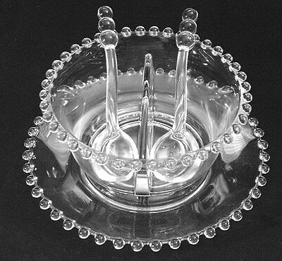 Imperial Crystal Candlewick Mayonnaise Set - Divided Bowl, 2 Spoons and Plate