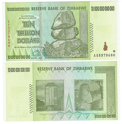 Zimbabwe Cat# 88 10 Trillion dollars Authentic UNC 2008 50 & 100 trillion series