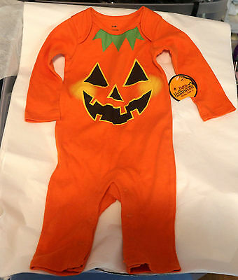 Halloween Outfit Costume Orange Pumpkin Face Jack-O-Lantern  0-3 Months
