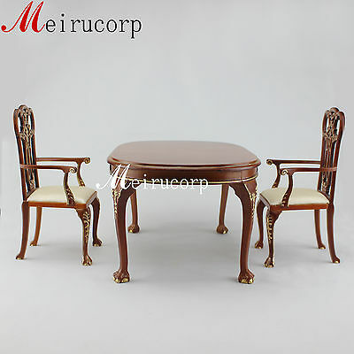 BJD 1/6 scale Furniture handcrafted Wooden beautiful Grand table and 2 chairs