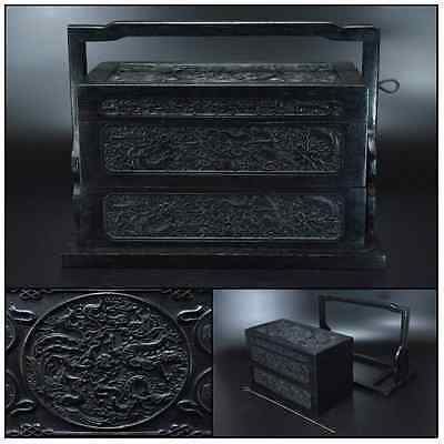 Chinese Antique Wooden Zitan Box [ Dragon in cloud ] / W 36.8× H 26.5 [ cm ]