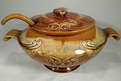 Vintage MAURICE OF CALIFORNIA USA POTTERY Soup Tureen W/Ladle Brown & Cream