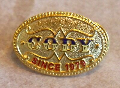 Cody Western Belt Buckle Shaped Pin. Gold Tone, Embossed, Enameled. Symbol Arts