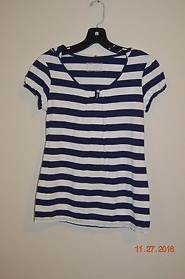 Motherhood Maternity Size Small Navy & White Striped Short Sleeve Hoodie Top
