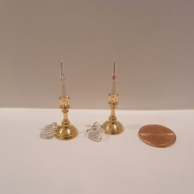 Miniature Brass Electric Candle Sticks By Clare-Bell