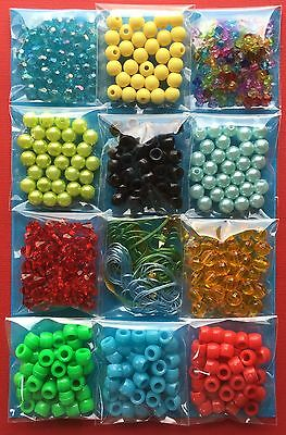 Kids Craft Bead Pack Boys Kit Mixed Colour Jewellery Bulk Gift - Aussie Seller!