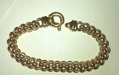 9ct Solid 27g Yellow & Rose Gold Double Curb Rollo Bracelet with Bolt Ring 22cm