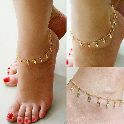 Gold Anklet Leg Bracelet Ankle Jewelry Sandal Leaf Adjustable Chain