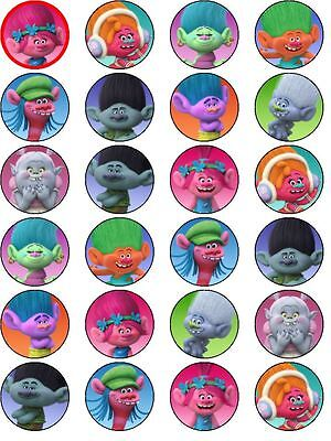 24 Trolls Edible ICING Cupcake Topper Party Decoration