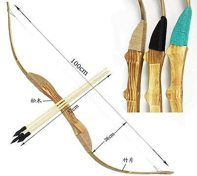 IRQ Archery Longbow Arrow Quiver Kids Hunting Wooden Horsebow Rubber Tip Toy Set