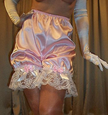 Vtg Fair Pink White Ruffle Lace Satin Bloomer Panty Panties Lingerie L