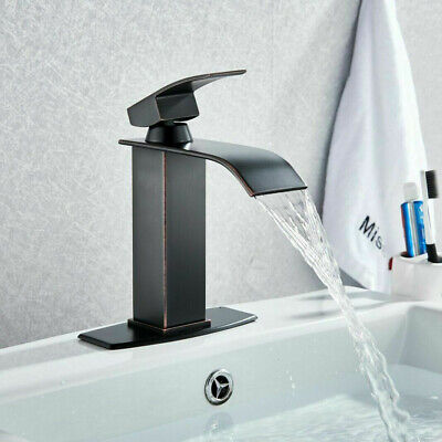 Oil Rubbed Bronze Waterfall Bathroom Faucet Single Handle Hole Mixer