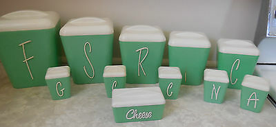 Vintage Retro Gay Ware Green & White Canister Set with  Spice Set & cheese dish