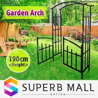Steel Garden Arch Verandah Gate Black 190cm Height Outdoor Décor 190cm