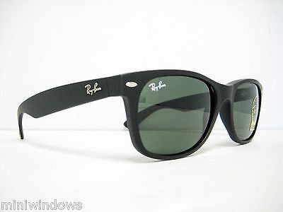 Ray Ban New Wayfarer RB2132 622 Rubber Black/Green 55mm NEW AUTHENTIC SUNGLASSES