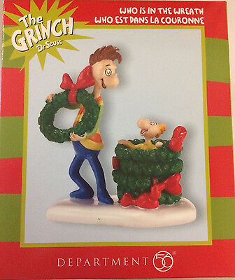 * WHO IS IN THE WREATH?  * Accessory Dept 56 Dr. Seuss  Grinch NEW RETIRED
