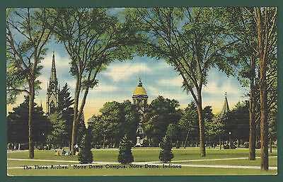 The Three Arches Notre Dame Campus Indiana Vintage Unused Linen Postcard