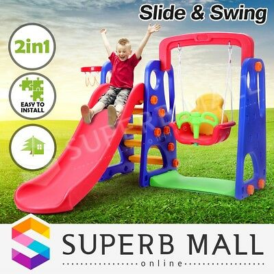 kids Slide Swing Play Toys Basketball Ring Activity Center Toddlers Outdoor Set