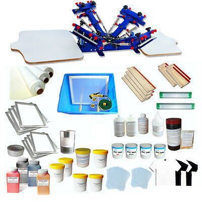 4 Color 2 Station Screen Printing Start Kit & Full Colors Printing materials