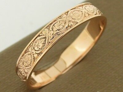 R019-  Genuine SOLID 9ct Rose GOLD Etched Vintage Wedding Band Ring size S