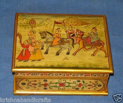 Vintage Look Fine Hand Painted Mughal Procession Seen Solid Camel Bone Box