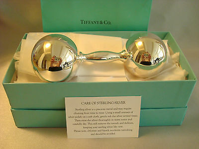 TIFFANY sterling silver ~ NEW ~ LARGE BABY RATTLE BARBELL ~ box,card,bag