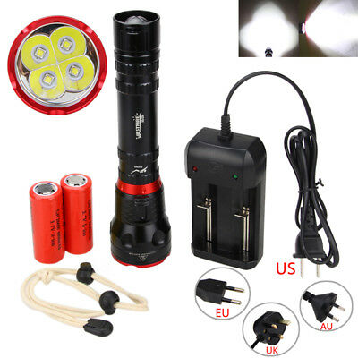 Underwater 100m 15000LM 4x XM-L L2 LED Scuba Diving Flashlight Torch 18650/26650
