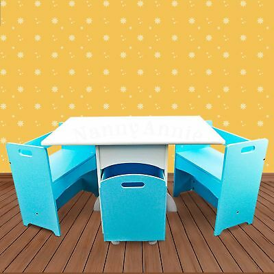 Kids Table Set with Storage   Blue Box-style Kids Table and Chair Set