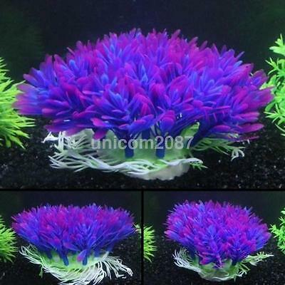 New Purple Aquarium Fish Tank Decoration Underwater Water Plant Ornament US