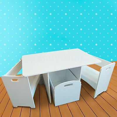 Kids Compact Table and Chair Set with Storage - WHITE