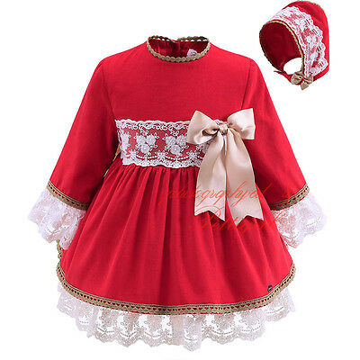 Baby Girl Red Lace Dress and Bonnet Set Toddler Kids Princess Party Christmas