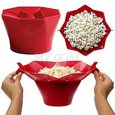 Silicone Microwave Magic Popcorn Popper Maker Kitchen Container Cooking Tool Red